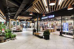 Grorud Kjøpesenter - shopping mall on Behance Plaza Design, Mall Design, Retail Design, Store Design, Shopping Mall Interior, Shopping Malls, Retail Interior, Interior Shop, Interior Ceiling Design