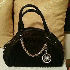 Juicy Couture Quilted Velour Tote Purse Brown with gold color quilted velour bag. Juicy Couture Bags Totes