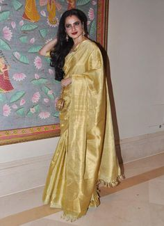 Rekha in a Gold Kanjeevaram Silk Saree