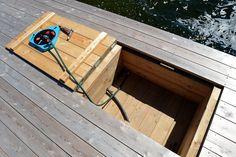 Detaljer « Saxarens Brygg AB i Stockholm Lake Dock, Boat Dock, Hot Tub Deck, Floating Dock, House Deck, Secret Rooms, Cabins In The Woods, Outdoor Living, Garden Design