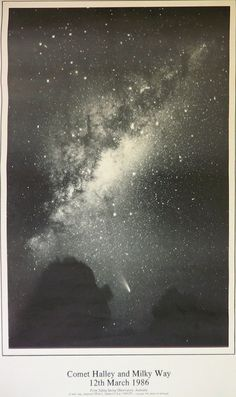 Comet Halley and the Milky Way 12th March 1986. Halley's Comet next scheduled appearance in late July, 2061