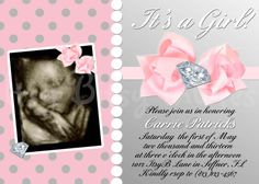 "Lil' Diva Baby Shower Invitation Photo Style / Diamond & Pearls ""It's a Girl"" Baby Shower Invitation Baby Girl Shower Themes, Baby Shower Princess, Baby Shower Invites For Girl, Baby Shower Gender Reveal, Baby Shower Parties, Baby Shower Invitations, Baby Showers, Pearl Baby Shower, Dream Baby"
