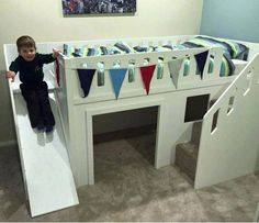 diy toddler bed with slide Toddler Bed With Slide, Toddler Loft Beds, Bunk Bed With Slide, Bunk Beds With Stairs, Kids Bunk Beds, Bed Slide, Kids Beds For Boys, Childrens Bed With Slide, Bed Ideas For Kids