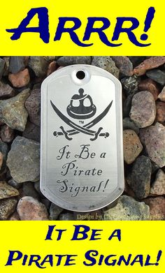 The Jolly Roger gets a geocaching makeover in this trackable dog tag from Pirate Fashion, Jolly Roger, Geocaching, Travel Bugs, Dog Tags, Pirates
