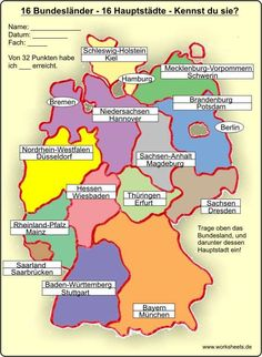 16 Hauptstädte – 16 federal states of Germany – Lehrreich - Bildung States And Capitals, German Grammar, Learn German, German Language Learning, 3rd Grade Math, Elementary Science, Family History, Germany, Knowledge