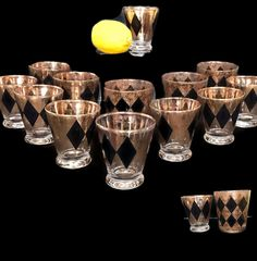 a3368aae300 Atomic Barware Set Mid Century Glasses Black and Speckled Gold Atomic  Design Set of 13 Vintage Lowball Cordial Shot Glasses Excellent Set