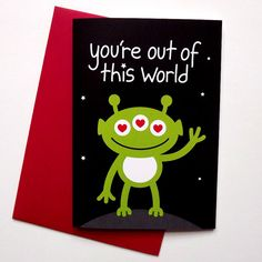 You're Out of This World - Cute Anniversary Card - Boyfriend Card  -Girlfriend card by hello DODO, £2.50