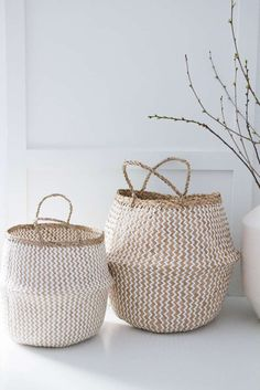 Sea grass basket braided with handle natural-white b