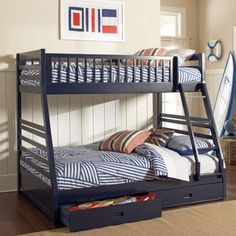 Lowest price online on all Coaster Cooper Twin over Full Bunk Bed with Drawers… Wood Bunk Beds, Bed Decor, Bed, Loft Spaces, Bunks, Bed Storage, Bed With Drawers, Home Decor, Space Bedding