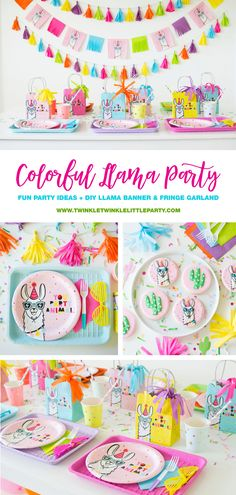 How To Throw a Colorful Llama Party - fun party ideas, diy llama banner, fringe garland, fiesta confetti as table decor