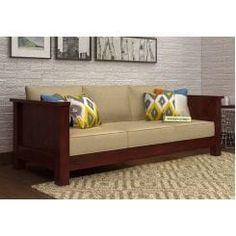 Buy Marriott 3 Seater Wooden Sofa (Honey Finish) Online in India - Wooden Street Furniture Decor, Furniture Design, Outdoor Furniture, Wooden Couch, Wooden Street, Ethnic Home Decor, 3 Seater Sofa, Sofa Set, Sofa Design