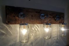 Primitive Rustic Shabby Chic Barn Wood Oak Mason Jar Hanging Light Fixture Truly a OOAK piece here with this rustic vintage lamp. A couple vintage antique Mason Jar Light Fixture, Mason Jar Wall Sconce, Rustic Light Fixtures, Hanging Mason Jars, Hanging Light Fixtures, Mason Jar Lighting, Hanging Lights, String Lights, Rustic Bathroom Lighting
