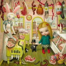 The Butcher Bunny by Pop Surrealism king: Mark Ryden Mark Ryden, Arte Lowbrow, Illustration Arte, Jeff Koons, Tim Walker, Arte Horror, Arte Pop, Creepy Cute, Pablo Picasso