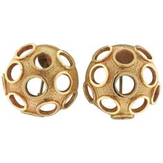 Unusual Gold Open Circle Dome Crater Earrings