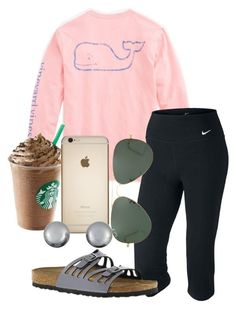 """tomorrow is going to be fun!!!"" by sofiaestrada ❤ liked on Polyvore featuring Vineyard Vines, NIKE, Birkenstock, Ray-Ban and Kenneth Jay Lane"