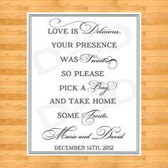Wedding Sign Favor | http://weddingideasplanning.blogspot.com