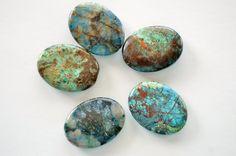 Huge Chrysacolla Stone Beads 40x30mm Flat Oval by TheBeadBandit, $3.79