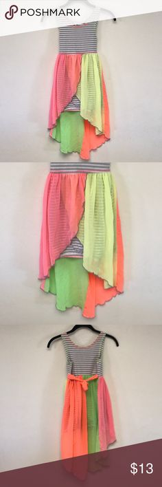 Bonnie Jean Striped & Neon pink / orange dress Bonnie Jean Striped & Neon pink, yellow, and orange dress   Girls size 8  Gently used Bonnie Jean Dresses Casual