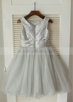4f5c850633e A-line Modest Neck Silver Sequin Gray Tulle Flower Girl Dress With Flower  Sash