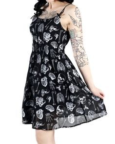 Amazon.com: X-ray Parts Skeleton Baby Doll Dress Black: Clothing