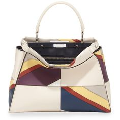 Fendi Peekaboo Medium Satchel Bag (87.790 ARS) ❤ liked on Polyvore featuring bags, handbags, white multi, colorful purses, handbags totes, fendi tote bag, fendi purse and white tote bag