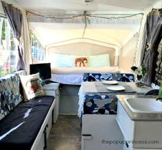 Don't want the expense and hassle of making new curtains for your camper? Use fabric dye to alter the color of the original curtains. Jayco Pop Up Campers, Best Pop Up Campers, Popup Camper, Happy Campers, Vintage Camper Redo, Vintage Campers, Vintage Rv, Vintage Trailers, Pop Up Tent Trailer