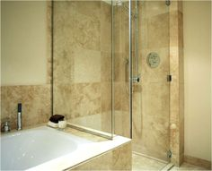 Bespoke bathroom, seamless transition in tiles, glass door - Increation