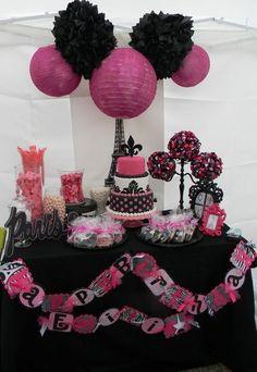 black white pink paris…. little girl birthday party set up