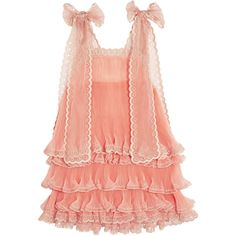 Chloé Tiered plissé silk-organza mini dress ($7,995) ❤ liked on Polyvore featuring dresses, chloe, peach, transparent dress, sheer dress, see-through dresses, tiered cocktail dress and tiered dress
