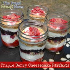Triple Berry Cheesecake  •1 Cup of  Strawberries  •1/2 Cup of Blackberries or Blueberries  •1/2 Cup of Raspberries  •1 Tablespoon of Sugar  •5 Tablespoons of Honey  •8 Ounces of Cream Cheese  •1/2 Cup of Greek Yogurt (Plain or Honey)  •1/2 teaspoon of Vanilla  •4 Graham Cracker Sheets