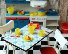 Vintage Plastic Modella Dollhouse Kitchen Furniture Stove Pots Food Lamp 1/12 scale