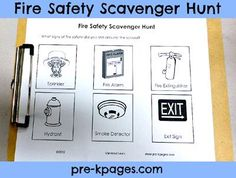 Fire Safety Scavenger Hunt Printable via www.pre-kpages.com (free)