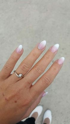 Summer - - Ombre Nails With Diamonds - Acrylic Nails Coffin Ombre, Rounded Acrylic Nails, Classy Acrylic Nails, Square Acrylic Nails, Almond Acrylic Nails, Summer Acrylic Nails, Summer Nails, Winter Nails, Ombre Nail