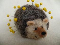 Hedgehog Pincushion Needle Felted  Animal by grannancan on Etsy
