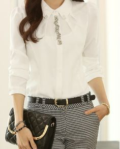 DIY//Fashion Jewelry & Craft : Flat Collar Beaded Long Sleeve Chiffon Blouse For Women Blouse Styles, Blouse Designs, Work Fashion, Fashion Outfits, Diy Fashion, Fashion Jewelry, Prom Dresses With Sleeves, Embroidery Fashion, Shirt Blouses