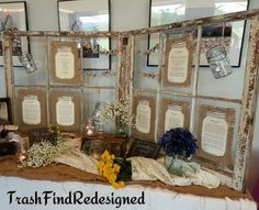 For my soon to be daughter-in-law's bridal shower... I made this using farmhouse windows, burlap & lace, mason jars & baby's breath. The window pane mason jars are filled with a little info on each girl from the bridal party