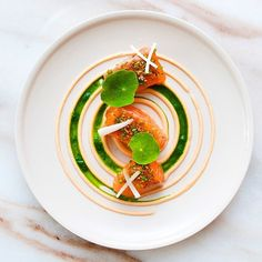 Salmon Mi-Cuit (half cooked) with yuzu shichimi spice and chives, grapefruit yogurt, kale, nasturtium, and pickled spring onion by @lennardy #TheArtOfPlating