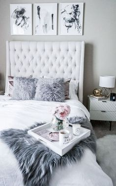 glamour grey bedroom interior design idea #luxuryrooms