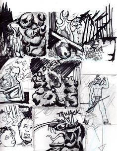 Turok initial layout page.  For a sequential art series included in portfolio.  Comics
