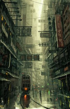 A futuristic architectural landscape entitled: The City created by Chinese artist: wlop. Our eyes mimic the rain as they travel from the top to the bottom. Where is the escape?