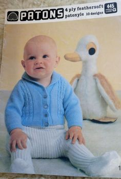 Patons BABY 4 Ply vintage knitting pattern book 10 designs sweater cardigan #Patons