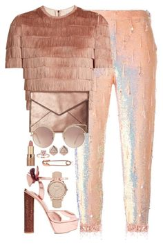 """""""70s street style glam"""" by seventeene ❤ liked on Polyvore featuring Ashish, Raey, Burberry, Sophia Webster, Rebecca Minkoff, MANGO, FOSSIL and tarte"""