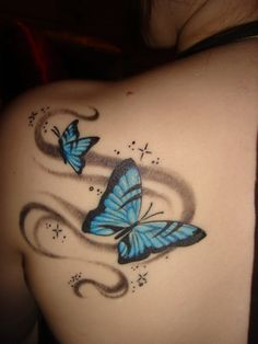 shoulder blade tattoos for women pictures | parents permission 24 year tat butterfly stars shoulder blade