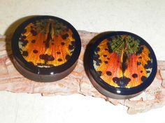 "1 7/8"" Sunset Moth Plugs by AsanaNaturalArts on Etsy, $32.00"