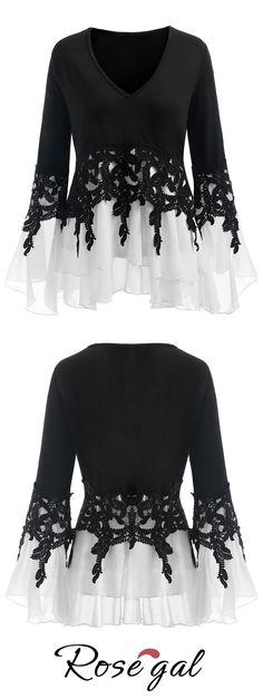 #PlusSize Color Block Applique #Blouse - White And Black - Xl