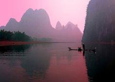 Beautiful shots of locals fishing on the Li River, China