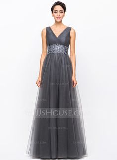 A-Line/Princess V-neck Floor-Length Taffeta Tulle Evening Dress With Ruffle Beading Appliques Lace Sequins (017056707) - JJsHouse