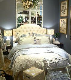 grey blue bedroom by Ballard Designs