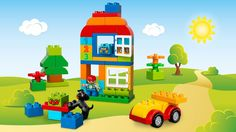 LEGO® DUPLO® - All-in-One-Box-of-Fun Create with the LEGO® DUPLO® All-In-One Box of Fun with boy, dog, wagon base, window elements, numbered and decorated bricks, and more.