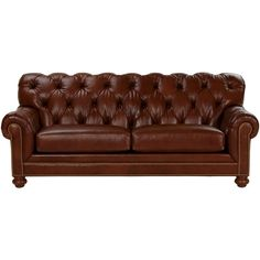 Ethan Allen Chadwick Express Leather Sofa found on Polyvore
